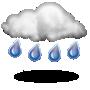Cubierto con lluvia escasa
